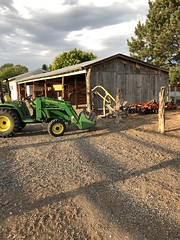 3 Tearing down the fence (Chuckcars) Tags: wood fence tractor jd deere barn removal polebarn cedar morning colorado iphone8