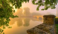 Gow's Bridge, Guelph, Canada (DeZ - photolores) Tags: royalcitypark guelphcanada gowsbridge reflection trees sunrise historical stone hdr nikon nikond610 nikkor nikkor1424mmf28 nature dez