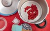 Pressure-caramelized ketchup preparation. (annick vanderschelden) Tags: bowl kitchen food ingredient pressurecooker water cup pan handle bakingsoda tomatopaste cooking preparation lid gauge belgium
