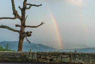 Little Devil Stairs Overlook rainbow, Skyline Drive, Shenandoah National Park