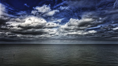 Where's That Storm? (Alfred Grupstra) Tags: sea cloudsky nature sky cloudscape blue water dramaticsky horizonoverwater scenics beach summer storm weather sunset landscape outdoors horizon nopeople seascape