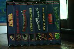 Monster Movies (sofiainspace) Tags: movies movie horror vhs tapes dracula frankenstein mummy wolf man phantom opera black lagoon creature