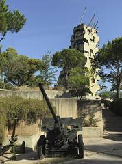 Vestiges of Lebanon Civil War at the Entrance to Government Facility (stevebfotos) Tags: civilwar beirut lebanon memorial guns damages tankguns