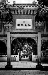 A chinese man's alone time (Mark F Naba) Tags: photography temple garden streetphotography street park blackandwhite bw bnw monochrome lights shadows highcontrast contrast candid hongkong portrait textures details lines frame leadinglines mono man walk alone symmetry geometrical geometry sonya7 prime 50mm