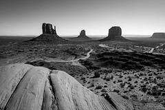 Monument Valley | The Vast Expanse (James_Beard) Tags: fuji fujixt2 holiday usa monumentvalley mittens arizona utah rocks taylorrocks widescreen wideangle blackwhite landscape epic expanse westmitten eastmitten merrickbutte