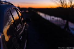 Sundown reflex (Feches) Tags: buenosaires coronelvidel down dusk sundowns atardecer nature sunset puestadelsol hierba anochecer agua cielo bokehlicious bokeh blur car auto coche automóvil reflejo reflex horizonte horizon
