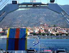 This happy moment (jimiliop) Tags: ship ferry sea land village holidays sailing travel greece flag greek summer greekislands