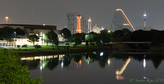 Six Flags Reflection (incastar7) Tags: tx ride sixflags blue night light infinity stadium traiil