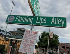 Flaming Lips Alley (cowyeow) Tags: oklahomacity usa oklahoma midwest street sign lips flaming flaminglips alley band stadium urban city america bricktown chickasaw ballpark chickasawbricktownballpark baseball towaway parking streetsign music