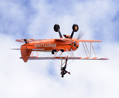 Stearman of The Flying Circus Wingwalking Team (rac819) Tags: oldwarden shuttleworthcollection shuttleworthtrust ukairdisplays family display stearman wingwalking aerobaticteam extremeaerobatics aerobatics