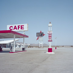 roy's / route 66. amboy, ca. 2018. (eyetwist) Tags: eyetwistkevinballuff eyetwist route66 amboy mojavedesert roys cafe motel sign famous mamiya 6mf 50mm kodak portra 160 mamiya6mf mamiya50mmf4l kodakportra160 ishootfilm analog analogue film emulsion mamiya6 square 6x6 120 filmexif epsonv750pro ishootkodak 6 mojave desert california highdesert landscape mediumformat motherroad us66 route 66 roadside america americana typology lonely desolate middleofnowhere googie arrow cabins vacancy getyourkicksonroute66 kicks iconla signgeeks type typography americantypologies iconic landmark roadtrip gasoline diesel pumps expensive gas