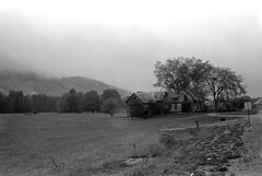 052570 26 (ndpa / s. lundeen, archivist) Tags: nick dewolf nickdewolf may blackwhite photographbynickdewolf whitemountains bw nh 1970 1970s newhampshire monochrome blackandwhite hills clouds lowhangingclouds field farm rural building house barn rotting damaged fallingapart farmhouse trees driveway rainyday