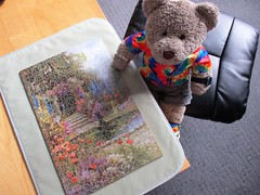 Neerly as cullerfull as me teeshirt! (pefkosmad) Tags: jigsaw puzzle hobby pastime leisure onepiecemissing vintage old wood plywood used secondhand salmon thesilentpool painting watercolour garden plants pool academy tedricstudmuffin teddy ted bear animal toy cute cuddly plush fluffy soft stuffed