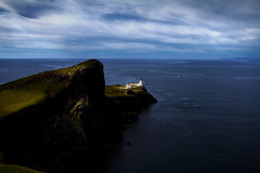 Neist Point Lighthouse (Danny Shrode) Tags: outdoor lighthouse ocean cliff scotland uk shadow clouds neistpoint isleofskye sea landscape water sky cloud rock coast grass bay
