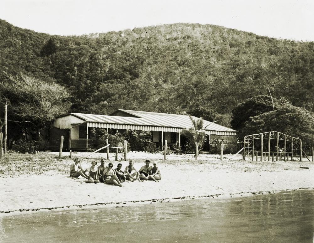 On the beach at Hayman Island off the coast of Queensland, ca. 1940