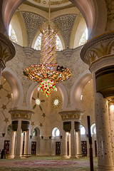Chandelier in the mosque, Sheikh Zayed Mosque, Abu Dhabi (Jim 03) Tags: sheikh zayed grand mosque abu dhabi capital united arab emirates worship eid prayers bin sultan al nahyan cultural diversity islamic historical architecture 1996 2007 syrian architect yousef abdelky stained etched glass marble inlay chandeliers jim03 jimhoffman jhoffman jim wwwjimahoffmancom wwwflickrcomphotosjhoffman2013