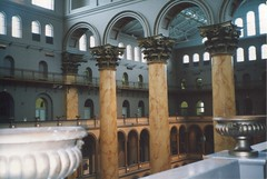 Washington  DC  - National Building Museum - Former Pension Building -  Interior (Onasill ~ Bill Badzo) Tags: washington dc nationalbuildingmuseum museum pension civilwar onasill nrhp us landmark visitors interior water fountain old photo vintage historic historical attraction engineering must see atrium renaissance revival architecture columns corinthian clock sky window building