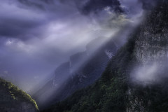 and suddenly ... the light (Prealpi Carniche Friuli) (Maurizio Fecchio) Tags: mountains montagne landscape lights trees forest sky clouds sunset italy friuli
