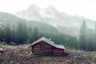 In the misty eye of mountain.