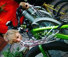 Creepy Doll Wars Bicycle (Georgie_grrl) Tags: bicycle decoration recycle reuse dolls dollheads tassles streamers creepy freaky creative pointsfororiginality bikingtoronto changeyourliferideabike toronto ontario kingstreetwest thatsusingyourheadersomeonesheadthatis