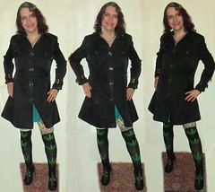 20171209 2114 - fashion show - Clio - black coat, knee-high pot leaf socks - 45142170-52b-15.00c (triptych) (Clio CJS) Tags: 20171209 201712 2017 fashionshow fashionshow20171209 virginia alexandria clioandcarolynshouse hallway standing kneehighsock kneehighsocks sock socks kneehigh potleafsock potleafsocks potleaf marijuanaleaf leaf marijuana coat blackcoat chainmailnecklace necklace chainmail triptych clio