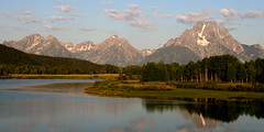 Oxbow Bend Wyoming Sunrise in August (mattzcoz) Tags: sky usa mountains nature water sunrise landscape unitedstates snakeriver northamerica meander wyoming grandtetons jacksonhole oxbow