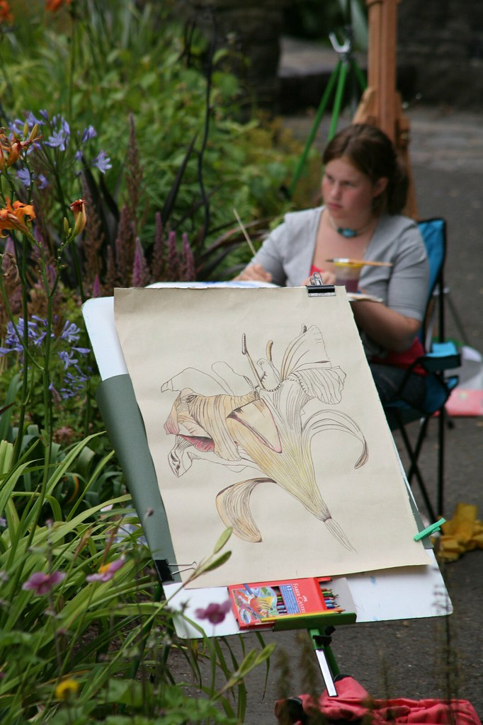 ARTIST AT WORK IN BOTANIC GARDENS