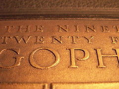 The 1924 Gopher (Mamluke) Tags: old vintage buch typography gold book words boek alt or text letters yearbook libro cover font annual viejo gopher livre oud embossed mots cru palabras vieux oro parole 1924 gulden goud vendimia texte woorden wrter annata uralt mamluke wijnoogst