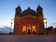 Malta North, Mgarr (Twilight Tea) Tags: 2005 travel sunset sky church geotagged lights october europe catholic religion illumination malta mgarr