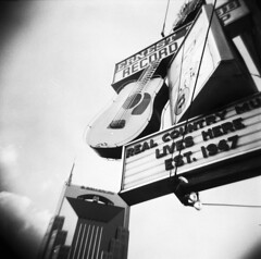 Real Country Music (birdcage) Tags: blackandwhite bw mediumformat holga neon nashville guitar tennessee broadway bellsouth ernesttubbrecordshop realcountrymusicliveshere