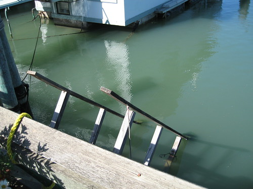 Ramp leading to underwater houseboat in Sausalito
