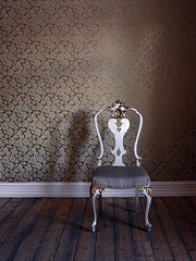 Wallflower (Rune T) Tags: old shadow wallpaper white texture wow golden wooden chair bravo alone pattern floor stylish windowlight wallflower losbygods themeold