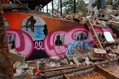 Graffiti train demolished (lowlight168) Tags: slr wet rain brooklyn d50 bedford graffiti interesting nikon ave lowlight168
