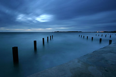 Vazon Bay I (Adam Clutterbuck) Tags: ocean uk longexposure greatbritain sea cloud seascape 20d beach landscape coast bravo been1of100 canoneos20d coastal shore gb limitededition guernsey defences channelislands groynes vazon payitforward greengage vazonbay scoreme46 shorescapes adamclutterbuck exploretop20 p1f1 artlibre artlibres showinrecentset ostrellina limitededition195 midedition le195