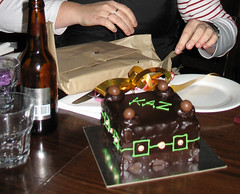 a little birthday cake (airdrie.m) Tags: birthday cake bar yum chocolate melbourne celebration birthdaycake presents present booze fitzroyst stkilda tabletop kaz chocolatecake canonpowershota610