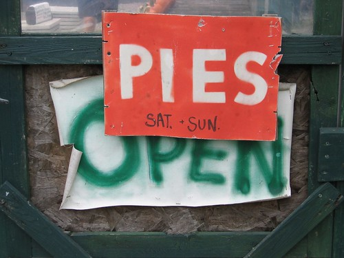 """Pies Open"" Signs, Culver Lake Nursery (Branchville, NJ) by takomabibelot."
