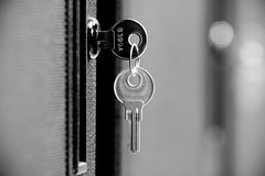 Under Lock and Key (halfgeek) Tags: bw macro monochrome keys key lock badge serverroom bokehsoniceseptember bokehsoniceseptember6 pleasantlytilted