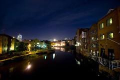 River Aire, Leeds, UK (tricky (rick harrison)) Tags: bridge night river leeds wharf aire afterdark regeneration airebar tetley bridgewaterplace brewary