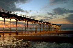 Bathing in the twilight (~Glen B~) Tags: uk sunset sea beach pier sand cleveland teesside saltburn satelliteportfolio