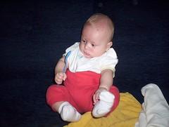 with blue spoon (OlaP) Tags: blue red baby white child son spoon dziecko syn bialy czerwony biay lyzka yka