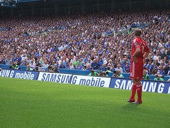 Liverpool FC's Steven Gerrard faces the Chelsea FC crowd at Stamford Bridge