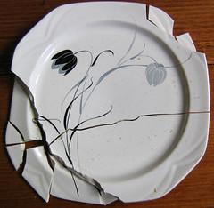broken plate (eutherian) Tags: broken twilight plate crockery paintedflowers japaneseplate