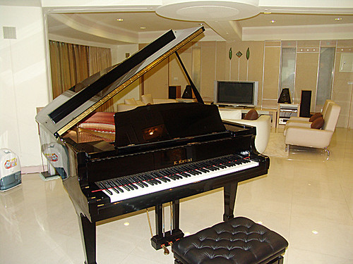 Glossy grand piano in a modern tiled living space