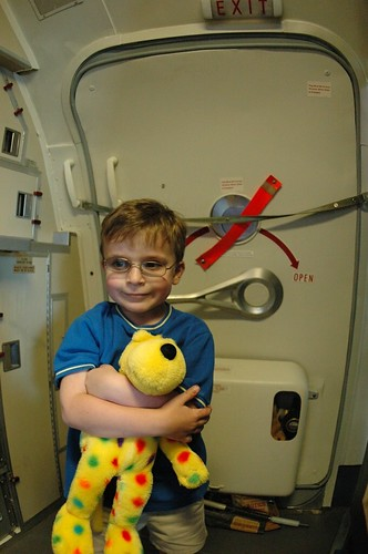Ethan and Spot on a Boeing 737-200