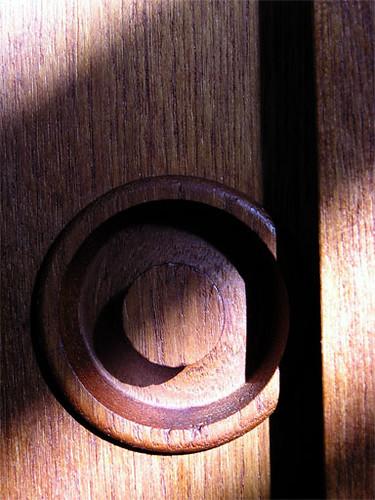 detail of knob on sliding door