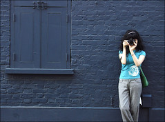 . Yuki And The Wall Indigo . (3amfromkyoto) Tags: street camera uk autumn england woman london girl wall canon eos bricks interestingness1 indigo yuki shutters hooks hinges utatafeature seenonexplore 3amfromkyoto flickr:user=yuki flickr:user=3amfromkyoto