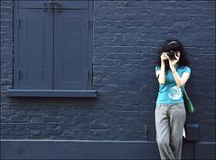 . Yuki And The Wall Indigo . (3amfromkyoto) Tags: street camera uk autumn england woman london girl wall canon eos bricks interestingness1 indigo yuki shutters hooks hinges utatafeature seenonexplore 3amfromkyoto flickr:user=yuki flickr:user=3amfromkyoto