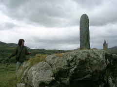 Guardians (Gwynedd) Tags: ireland sky green stone clouds ancient wind churchtower spirits mermaid creatures donegal caughtsomeorbsinothershotsthatday