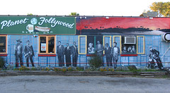 Planet Follywood Mural by artist James Hill (byrdiegyrl) Tags: beach mural artist southcarolina charleston painter restaraunt jameshill theking folly moviestars planetfollywood
