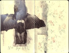 ...no angel (the3robbers) Tags: wallpaper art moleskine girl angel wings sketchbook transfer solvent the3robbers
